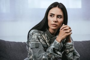 female service member suffers from PTSD. She gets trauma counseling in Burke, VA at Nova Terra Therapy 22015